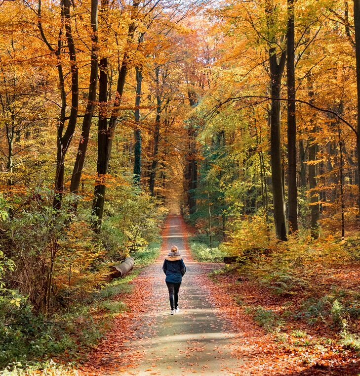 woman walking slow in the fall