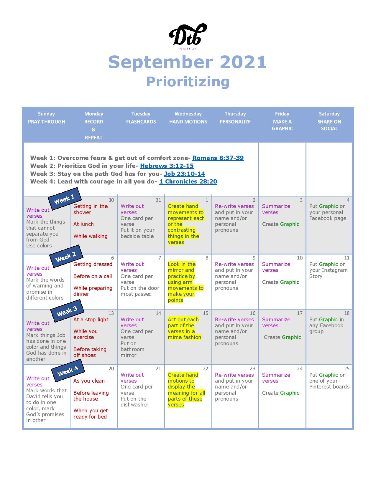 Picture of the September Scripture calendar